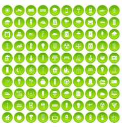 100 well person icons set green circle vector