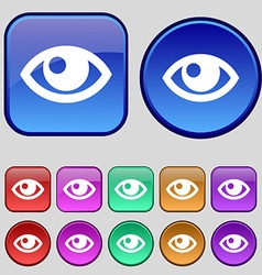 Eye icon sign A set of twelve vintage buttons for vector image