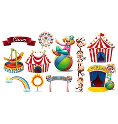 Circus set with games and characters vector