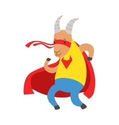 Goat animal dressed as superhero with a cape comic vector