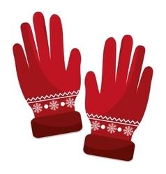 Winter gloves clothes icon vector