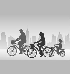 Family riding bicycles vector