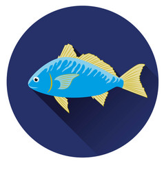 icon fish blue on a dark blue background vector image