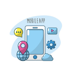 technology smartphone apps connection server vector image