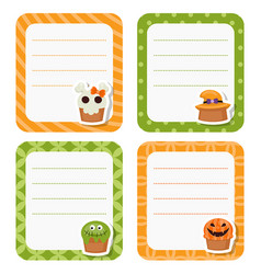 Cute cards or stickers with halloween cupcakes vector