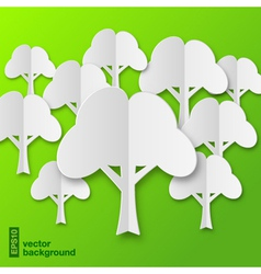 Composition of stylized white paper tree with shad vector