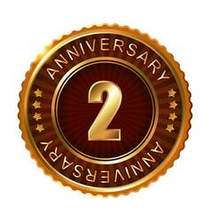 2 years anniversary golden brown label vector image vector image