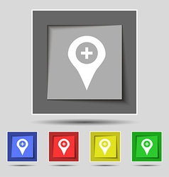 Plus map pointer gps location icon sign on the vector