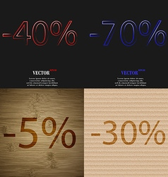 70 5 30 icon set of percent discount on abstract vector