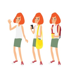 Caucasian ginger school girl vector