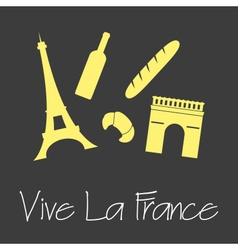 Vive la france celebration symbols simple banner vector
