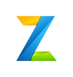 Z letter one line colorful logo design template vector