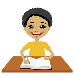 Cute little black student boy writing vector