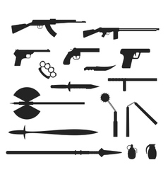 Weapons flat collection isolated on white vector