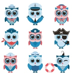 Sailor owls and owlets set vector