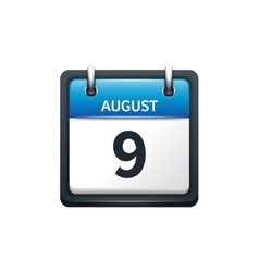 August 9 Calendar icon flat vector image vector image