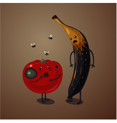 Bad food rotten fruits and vegetables spoiled vector