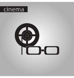 Black and white style icon 3d cinema vector