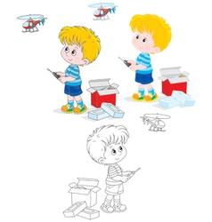 Boy with a helicopter vector image vector image