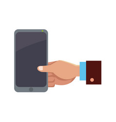 business hand man holding smartphone app vector image vector image