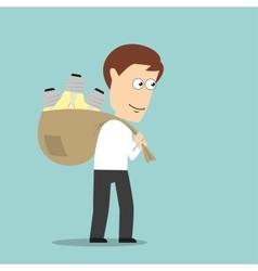 Businessman carrying idea light bulbs in bag vector image vector image