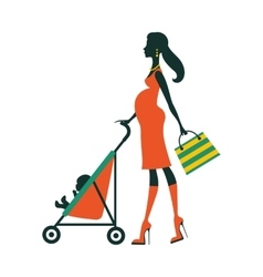 Chick fashion mom shopping with her baby in a vector image