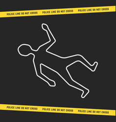 classic crime scene with white outline body vector image