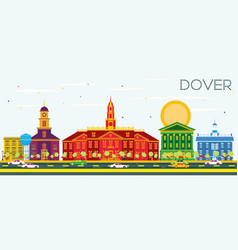 Dover skyline with color buildings and blue sky vector