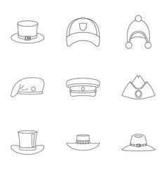 elegant hat icon set outline style vector image