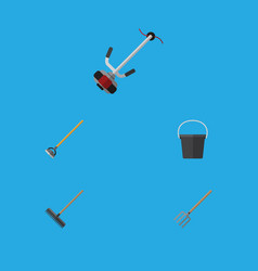 Flat icon garden set of pail harrow hay fork and vector