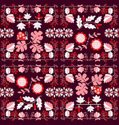 Floral seamless pattern with ladybird and vine vector