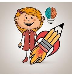 girl idea brain vector image