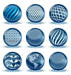 Glossy spheres set vector
