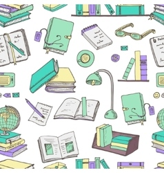 Hand drawn doodle books reading seamless pattern vector