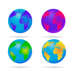 Neon earth globe blue green yellow and red vector