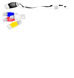 Paint tube of primary colors with white and black vector