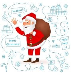 Santa Claus isolated on white Christmas background vector image vector image