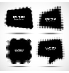 Set of abstract halftone design elements vector