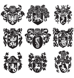set of heraldic silhouettes No1 vector image vector image