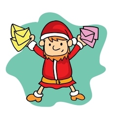 Small santa with mail christmas theme vector