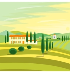 Tuscany rural landscape with houses vector