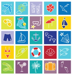 vacation and beach icons on colorful backgrounds vector image