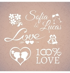 Wedding or valentines day design love elements vector