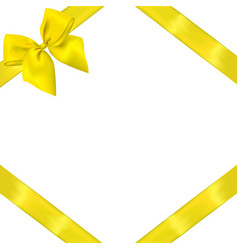 Yellow realistic bow with ribbons vector