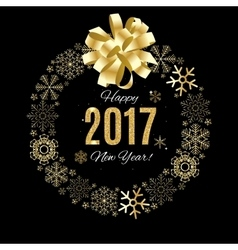 2017 happy new year gold glossy background vector