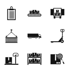 Cargo packing icons set simple style vector