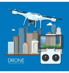 Drone with remote control flying over city aerial vector