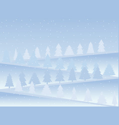 Snow-covered mountains with christmas trees snow vector