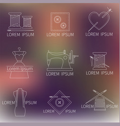 Set of sewing tailoring or dressmaking icons on vector