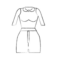 Contour fashion blouse and short cloth style vector